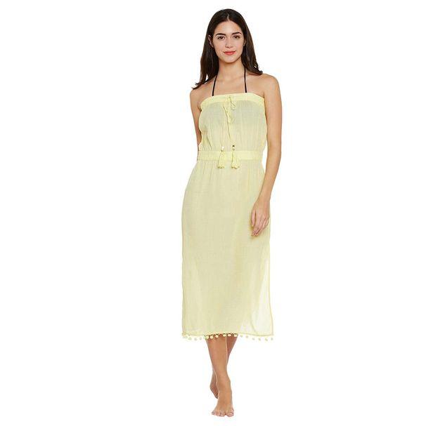Yellow Solid Beach Wear Dress
