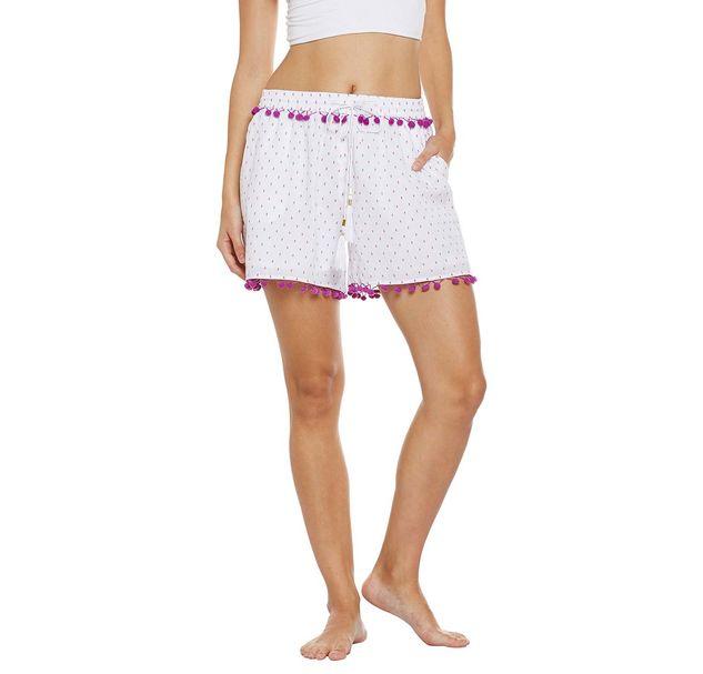 Beach Wear Shorts with Purple Pom-Pom