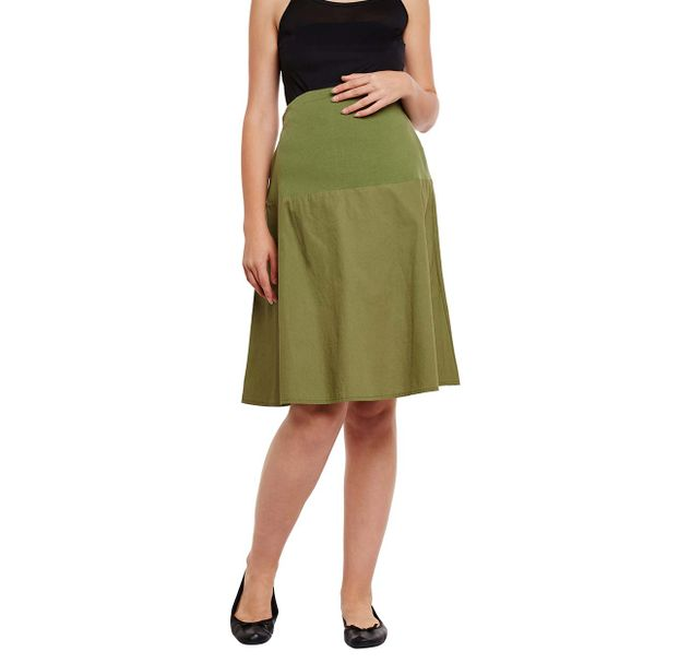 Green Elasticated Maternity Skirt