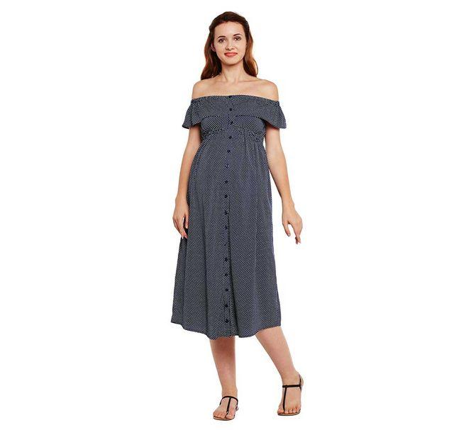 Navy Blue Off-Shoulder Maternity Dress