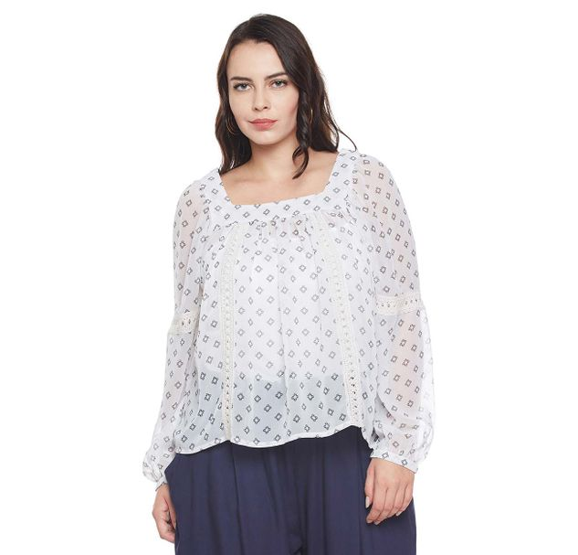 Printed Plus Size Lace Top