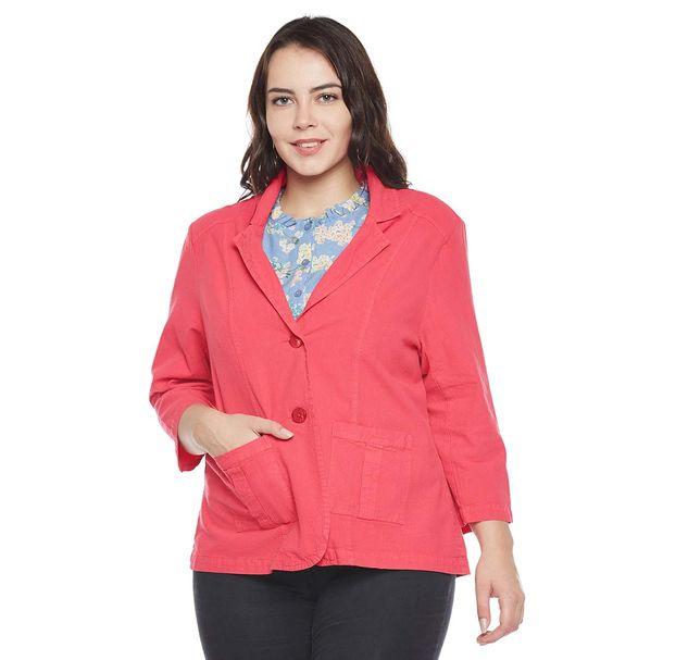 Pink Button-Down Blazer