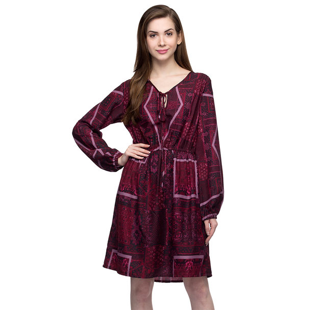 Women's Maroon Abstract Printed Dress