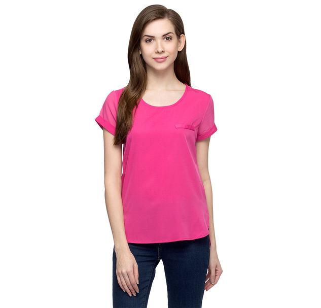 Women's Solid Pink Top