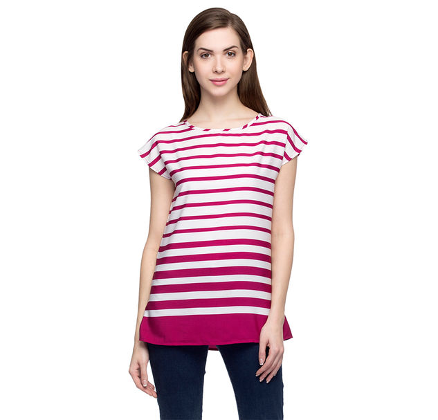 Women Magenta And White Striped Top