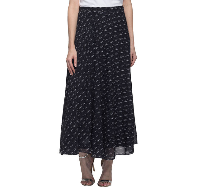 Women Printed Navy Blue Skirt