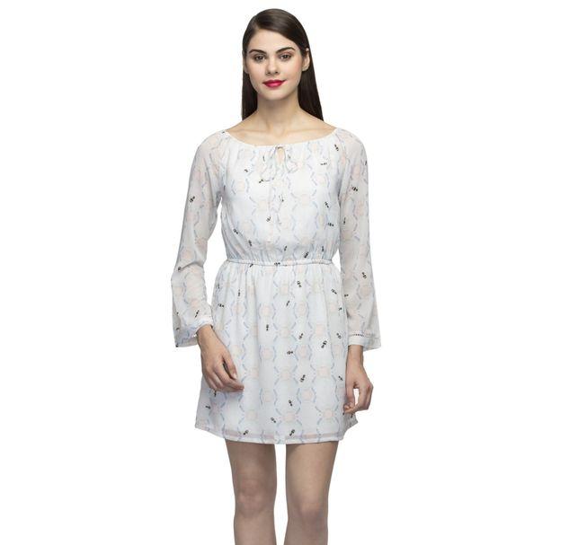 Strapless Printed A-Line Elastic Dress