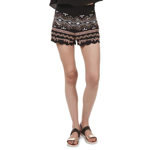 Women Black Embellished Shorts