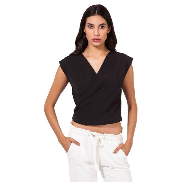 Women Black Wrap Top