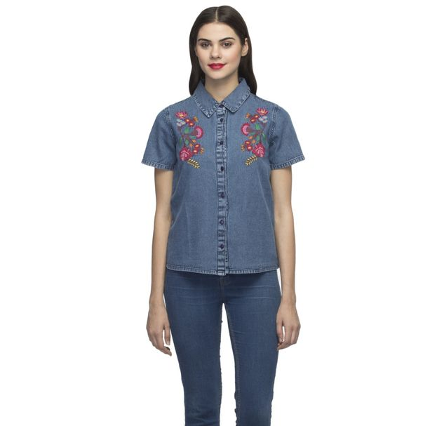Women Blue Denim Shirt