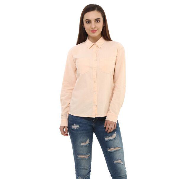 Women Peach Cotton Shirt