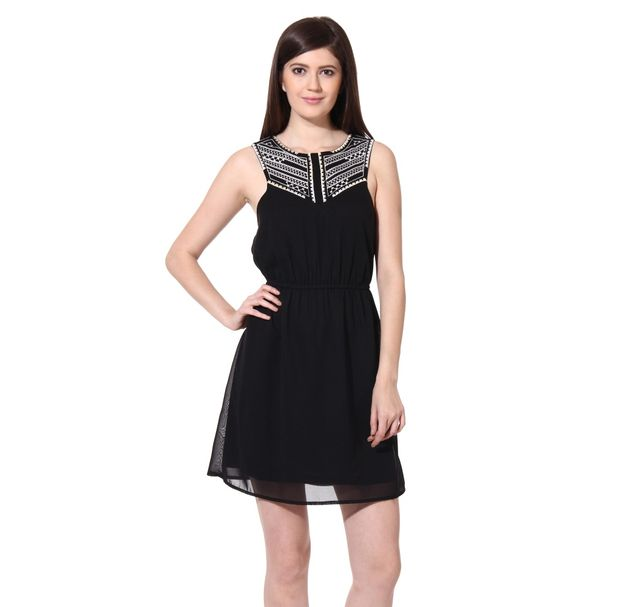 Women Black Embroidered Dress