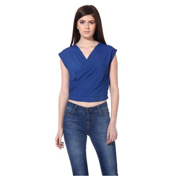 Women Blue Wrap Top