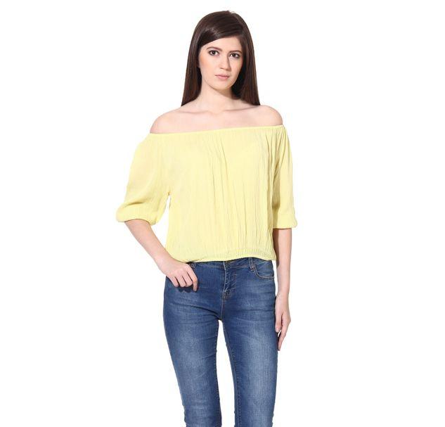 Women Yellow Strapless Top