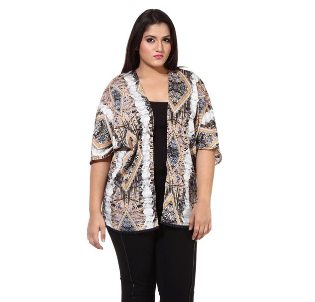 Plus Size Printed Shrug