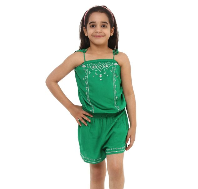 Girls Green Playsuit