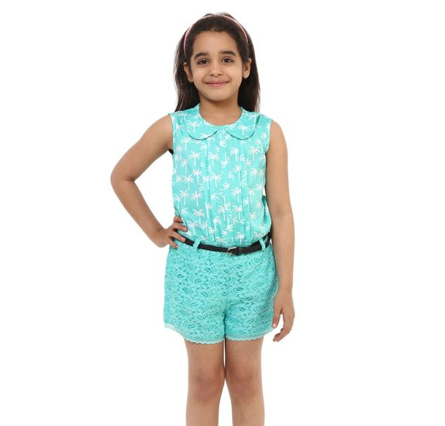 Girls Green Lace Playsuit