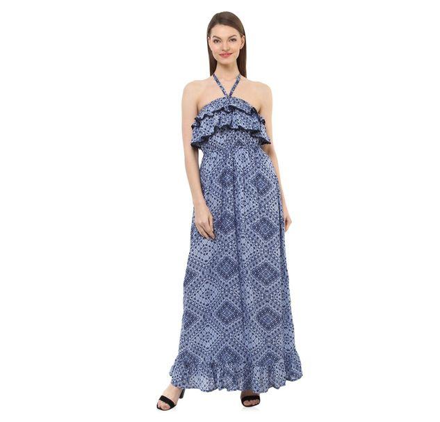 Women Blue Halter Dress