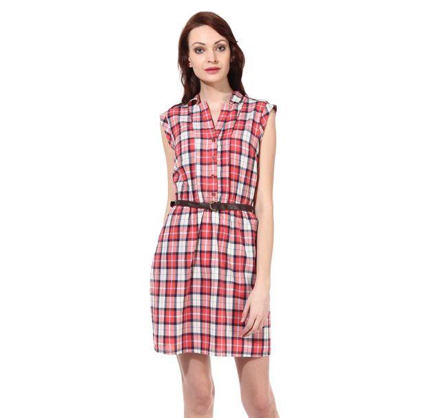 Women Red Cotton Dress