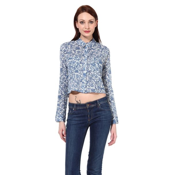 Women Cotton Crop Shirt