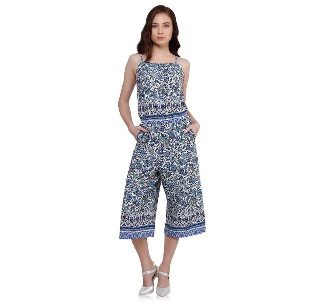 Women Blue Floral Jumpsuit