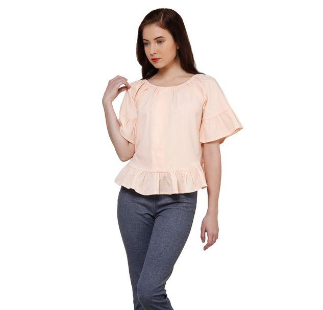 Women Cotton Peach Top