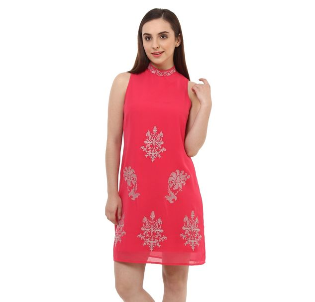 Women Pink Embroidered Dress