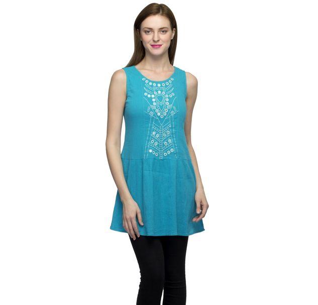 Women Blue Embellished Tunic