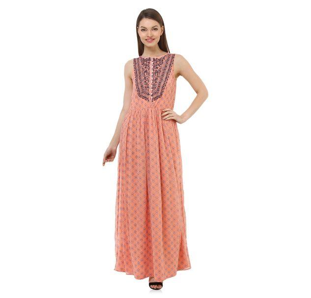 Women Peach Maxi Dress
