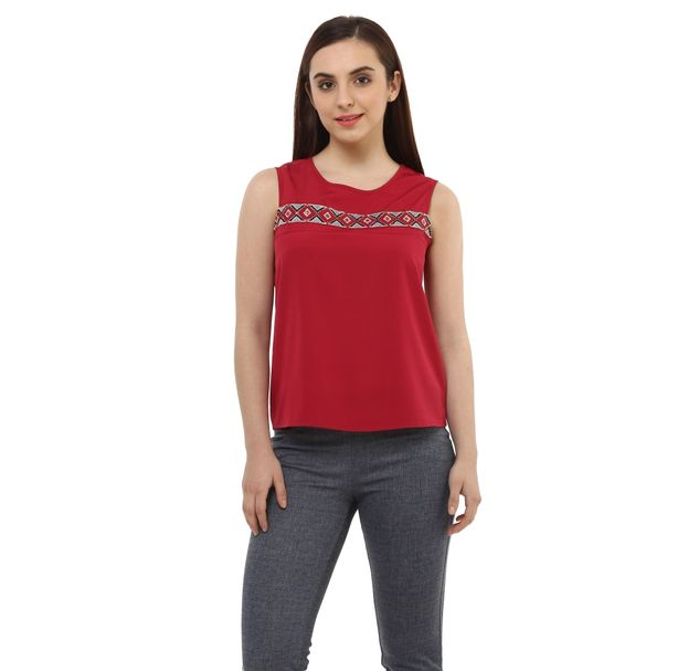 Women Red Embellished Top