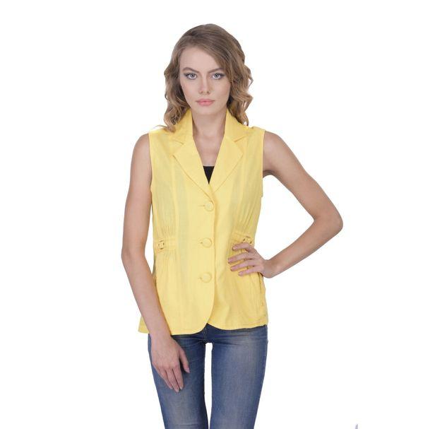 Women Yellow Sleeveless Blazer