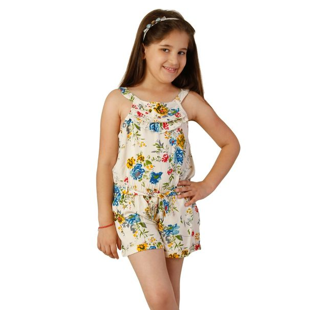 Girls Floral Summer Playsuit