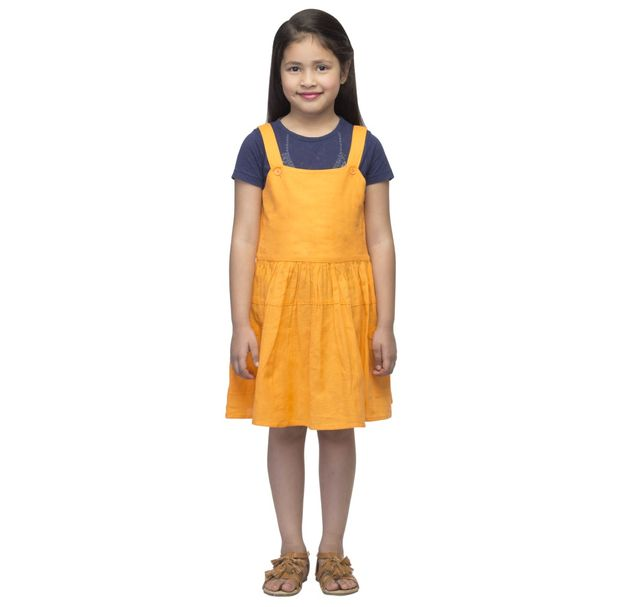 Girls Orange Cotton Dress