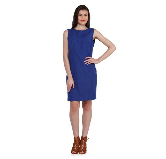 Women Blue Linen Dress
