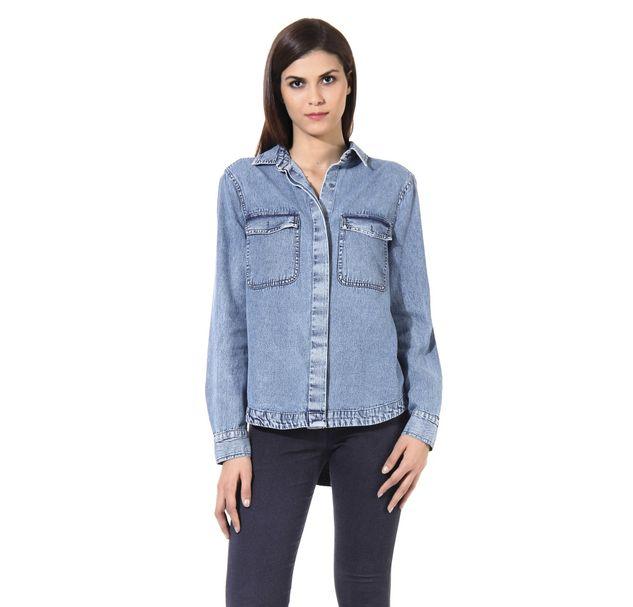 Women Blue Denim Shirt