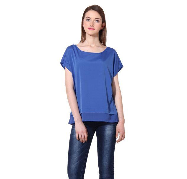 Women Blue Layer Top