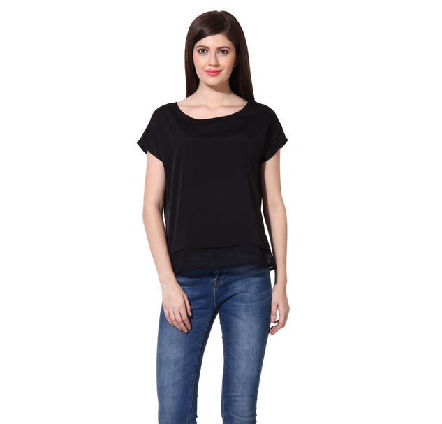 Women Black Layer Top