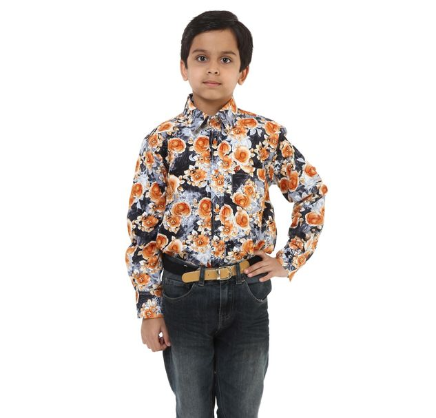 Boys Printed Cotton Shirt