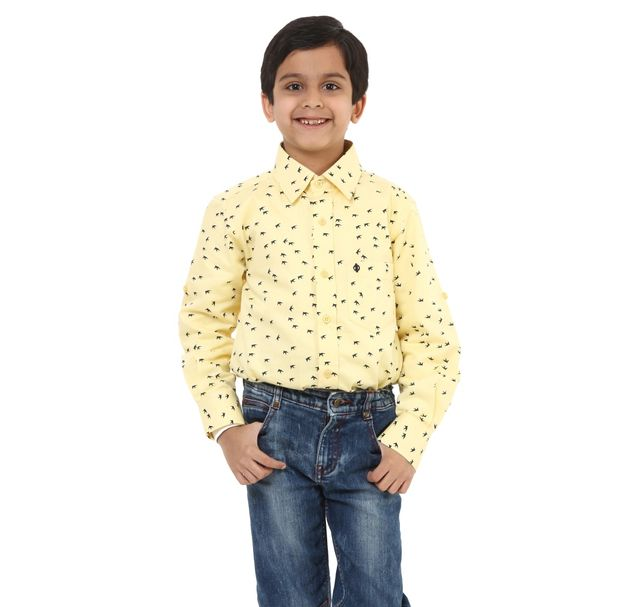 Boys Yellow Cotton Shirt