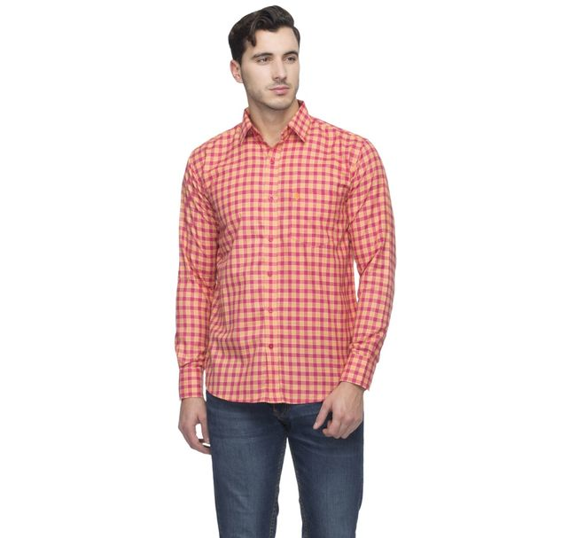 Men Cotton Red Shirt