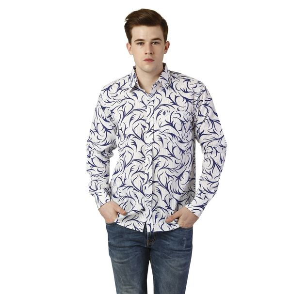 Men Blue Printed Shirt