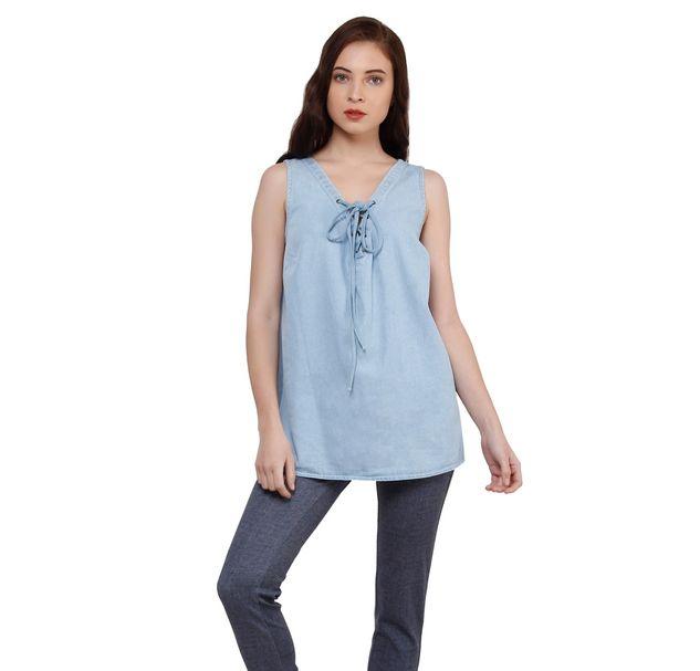 Women Blue Denim Top