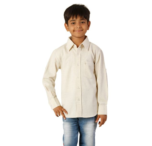 Boys Cotton Beige Shirt
