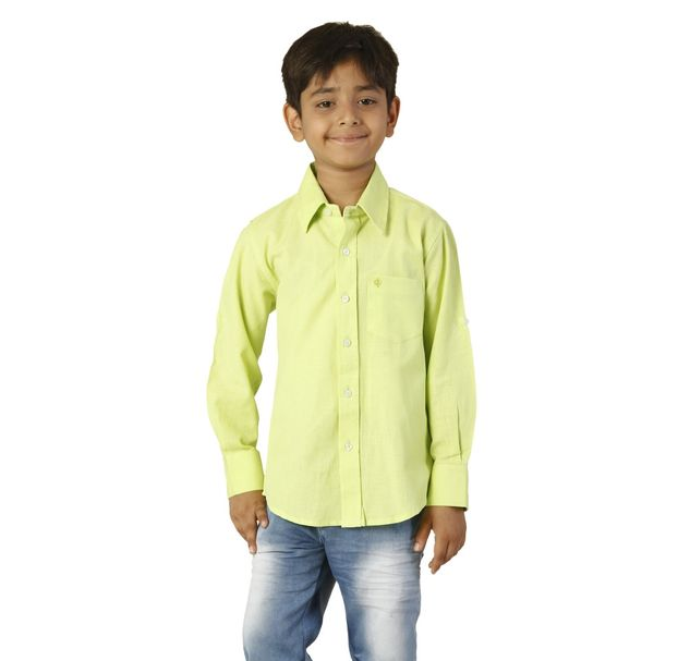 Boys Cotton Green Shirt