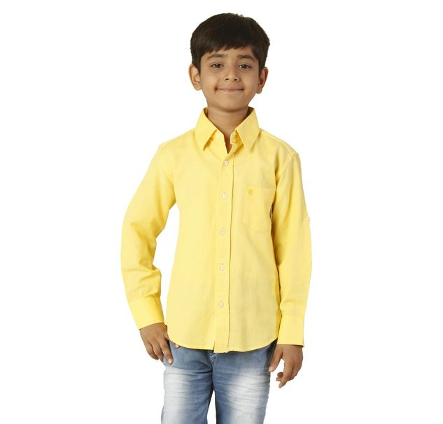 Boys Cotton Yellow Shirt