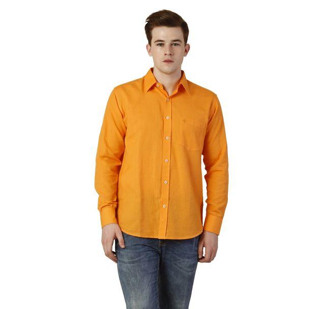 Men Orange Cotton Shirt