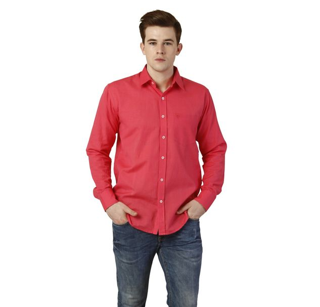Men Pink Cotton Shirt