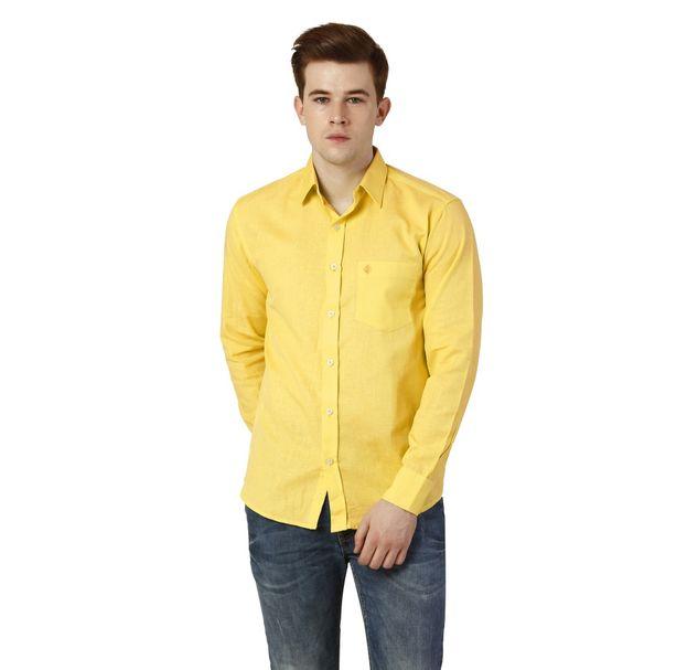Men Yellow Cotton Shirt
