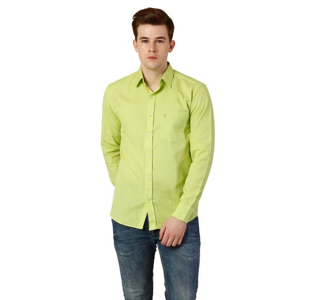 Men Green Cotton Shirt