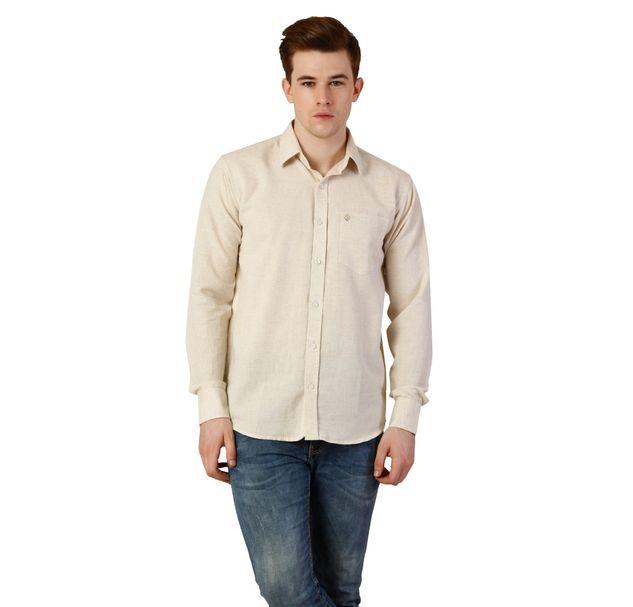 Men Beige Cotton Shirt